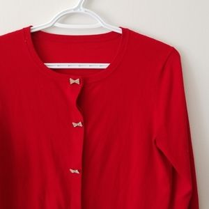 Red 3/4 sleeve bow button cardigan Small